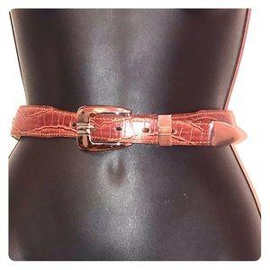 Cirrus Leather Reddish Brown Belt w/Silver Buckle
